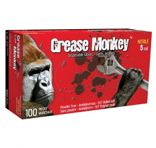 5554PF Grease Monkey 5 mil black nitrile gloves (box of 100) - Large