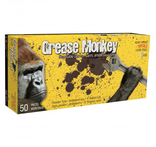 5555PF Grease Monkey 5 mil black nitrile gloves (box of 50) - XL