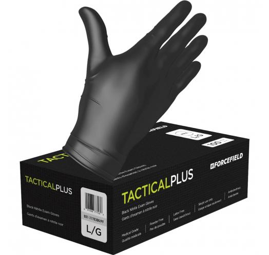 Forcefield Tactical Plus Black Nitrile Exam Gloves box with hand